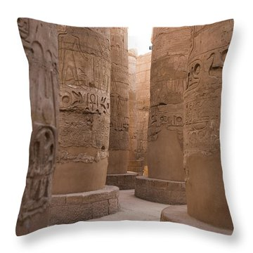 The Massive Columns In The Hypostyle Throw Pillow by Taylor S. Kennedy