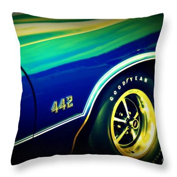 The Muscle Car Oldsmobile 442 Throw Pillow by Susanne Van Hulst