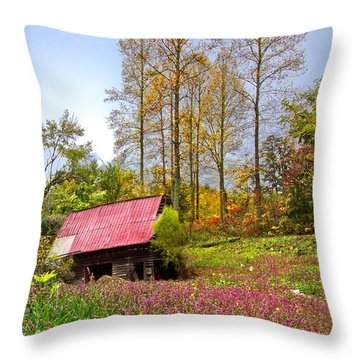 The Old Barn At Grandpas Farm Throw Pillow by Debra and Dave Vanderlaan