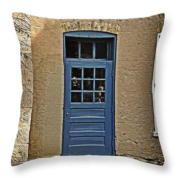 The Old Blue Door Throw Pillow by Mary Machare