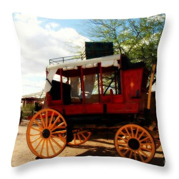 The Old Stage Coach Throw Pillow by Susanne Van Hulst
