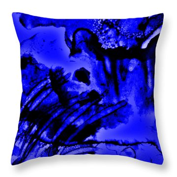 The Origins Of Blue Throw Pillow by Rory Sagner