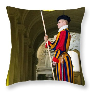 The Papal Swiss Guard Throw Pillow by Jon Berghoff