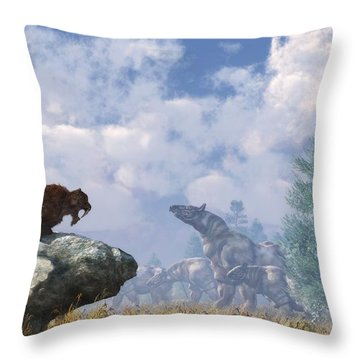 The Paraceratherium Migration Throw Pillow by Daniel Eskridge