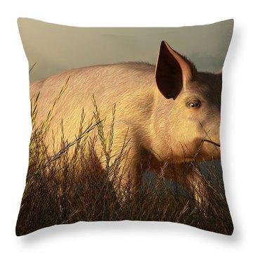 The Pink Pig Throw Pillow by Daniel Eskridge