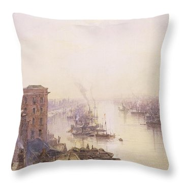 The Pool From The Adelaide Hotel London Bridge Throw Pillow by William Wyld