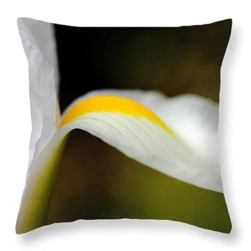 The Pose White Dutch Iris Flower  Throw Pillow by Jennie Marie Schell