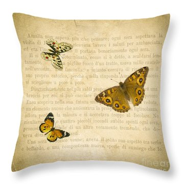 The Printed Page 1 Throw Pillow by Jan Bickerton