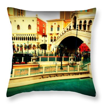 The Rialto Bridge Of Venice In Las Vegas Throw Pillow by Susanne Van Hulst