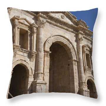 The Ruins Of The Ancient City Of Jerash Throw Pillow by Taylor S. Kennedy