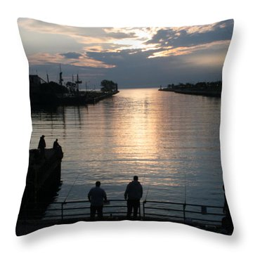 The Salmon Are Running Throw Pillow by Kay Novy