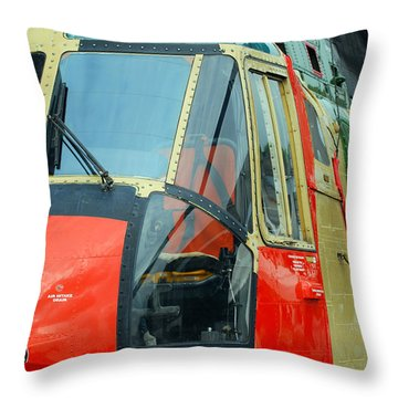 The Sea King Helicopter Used Throw Pillow by Luc De Jaeger