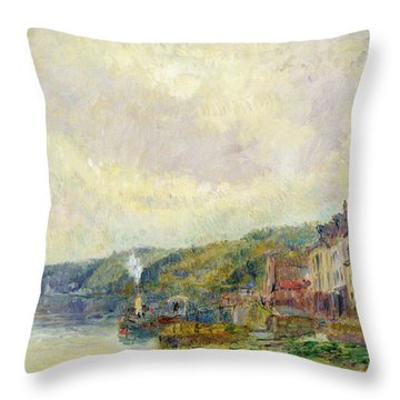 The Seine At Croisset Throw Pillow by Albert Charles Lebourg