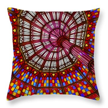 The Stained Glass Ceiling Throw Pillow by Judi Bagwell