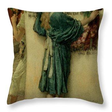 The Street Altar Throw Pillow by Sir Lawrence Alma-Tadema