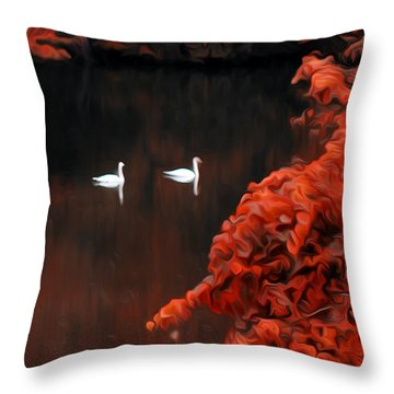 The Swan Pair Throw Pillow by Bill Cannon