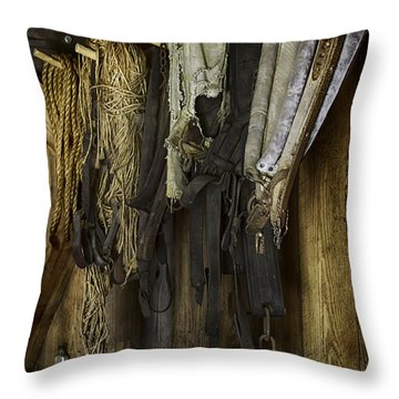The Tack Room Wall Throw Pillow by Lynn Palmer