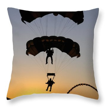 The U.s. Army Golden Knights Perform An Throw Pillow by Stocktrek Images