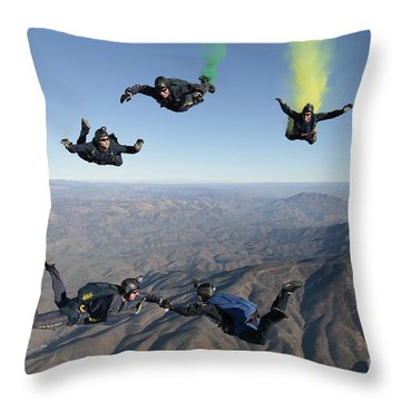 The U.s. Navy Parachute Demonstration Throw Pillow by Stocktrek Images