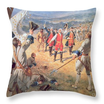 The Victory Of Montcalms Troops At Carillon Throw Pillow by Henry Alexander Ogden