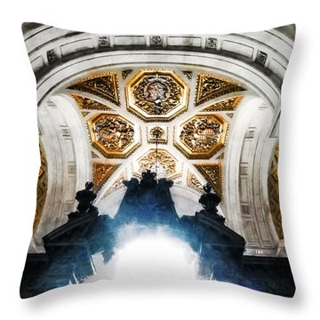 The West Doorway Of St Paul's Cathedral Throw Pillow by Steve Taylor
