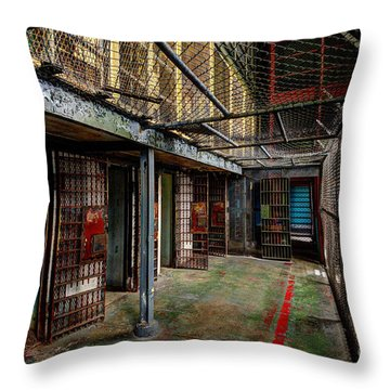 The West Virginia State Penitentiary Cells Throw Pillow by Dan Friend