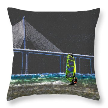 The Wind Surfer Throw Pillow by David Lee Thompson
