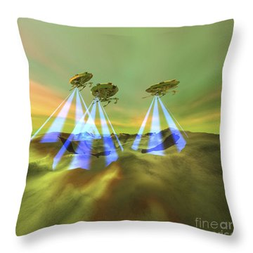 Three Alien Spaceships Steal Throw Pillow by Corey Ford