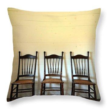Three Antique Chairs Throw Pillow by Jill Battaglia