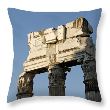 Three Columns And Architrave Temple Of Castor And Pollux Forum Romanum Rome Italy. Throw Pillow by Bernard Jaubert