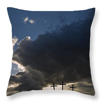 Three Crosses, West Yorkshire, England Throw Pillow by John Short