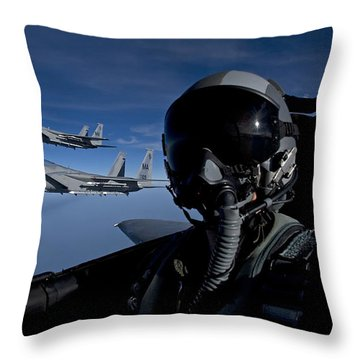 Three F-15 Eagles Fly High Throw Pillow by HIGH-G Productions
