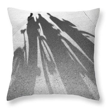 Three Friends On Bikes Throw Pillow by Julie Niemela