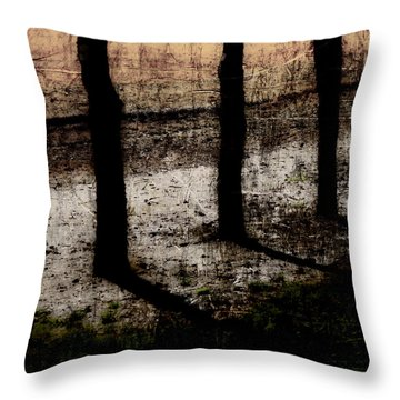 Three Tree Trunks Throw Pillow by Carol Leigh