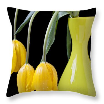 Three Yellow Tulips Throw Pillow by Garry Gay