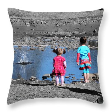 Throwing Stones Throw Pillow by Paul Ward