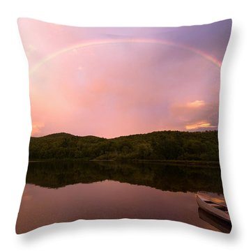 Timing Is Divine Rainbow Over Vermont Mountains Throw Pillow by Stephanie McDowell