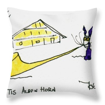 Tis Alpenhorn Throw Pillow by Tis Art