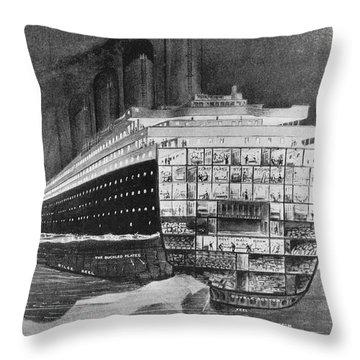 Titanic: Shipwreck, 1912 Throw Pillow by Granger