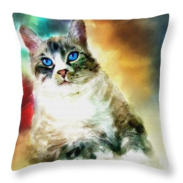 Toby The Cat Throw Pillow by Robert Smith