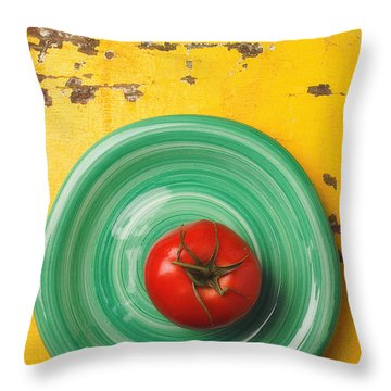 Tomato On Green Plate Throw Pillow by Garry Gay