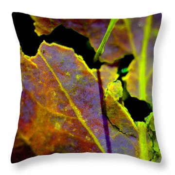 Torn Leaf Throw Pillow by Marie Jamieson