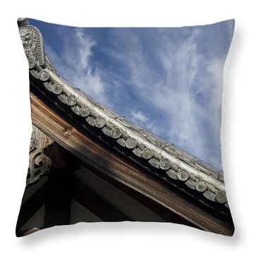 Toshodai-ji Temple Roof Gargoyle - Nara Japan Throw Pillow by Daniel Hagerman