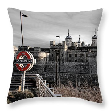 Tower Of London With Tube Sign Throw Pillow by Jasna Buncic