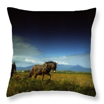 Traditional Harrowing, Castlegregory Throw Pillow by The Irish Image Collection