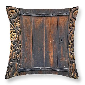 Traditional Wood Carvings Throw Pillow by Heiko Koehrer-Wagner