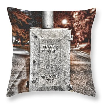 Traffic Control Box Throw Pillow by Paul Ward