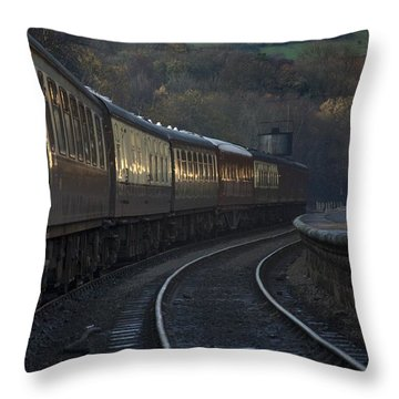 Train At Station At Dusk, Pickering Throw Pillow by John Short