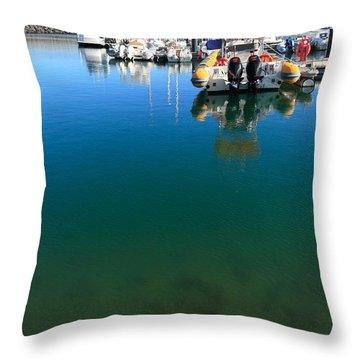 Tranquility At The Marina Throw Pillow by Gaspar Avila
