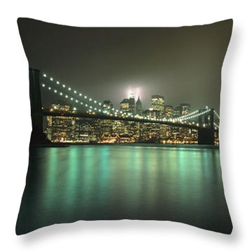 Tribute In Light, Lower Manhattan On Throw Pillow by Axiom Photographic